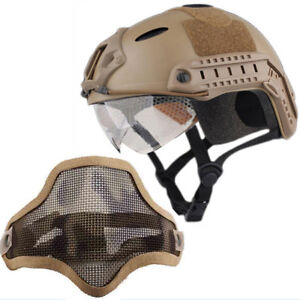 Tactical-Airsoft-Paintball-Military-Protective-SWAT-Helmet-w-Goggle-half-Mask