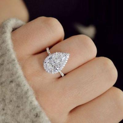 1 80 Carat Pear Shaped Halo Diamond Engagement Ring Gorgeous 14k White Gold Over Ebay