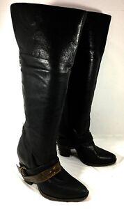 e91764ac447 Steve Madden Rockiie Knee High Boots Black leather belted Sz 6.5 B ...