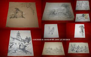 9 ŒUVRES ORIGINALES DE JANE LE SOUDIER - 4 DESSINS ET 5 CROQUIS ORIGINAUX A VOIR