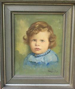 Altes-Olgemaelde-Gemaelde-Maedchen-Kind-Baby-Kinderportrait-Portrait-signiert