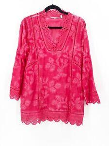 Soft-Surroundings-Tunic-Top-Blouse-Pink-Medium-Viscose-Summer-Beach