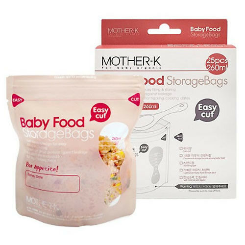 with Tracking Safe Hygienic Care 260ml 25pcs Mother.K Baby Food Storage Bags
