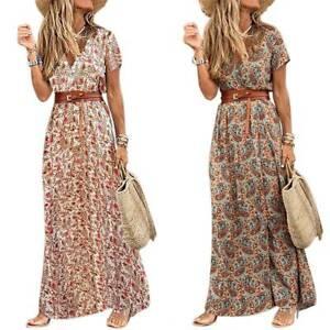 Womens-Summer-Boho-Belted-Long-Maxi-Shirt-Dress-Ladies-Beach-Holiday-Sundress-UK