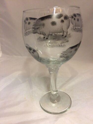 BLACK PIG DESIGNS ON LARGE GIN GLASS