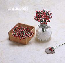 50 Red Rim Tiny Rose Scrapbook Craft 5mm Mulberry Paper Flower Wedding Dollhouse