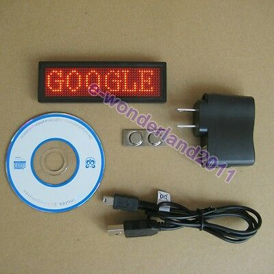 RED LED Programmable Scrolling Moving  Name Badge Tag Sign Message Rechargeable