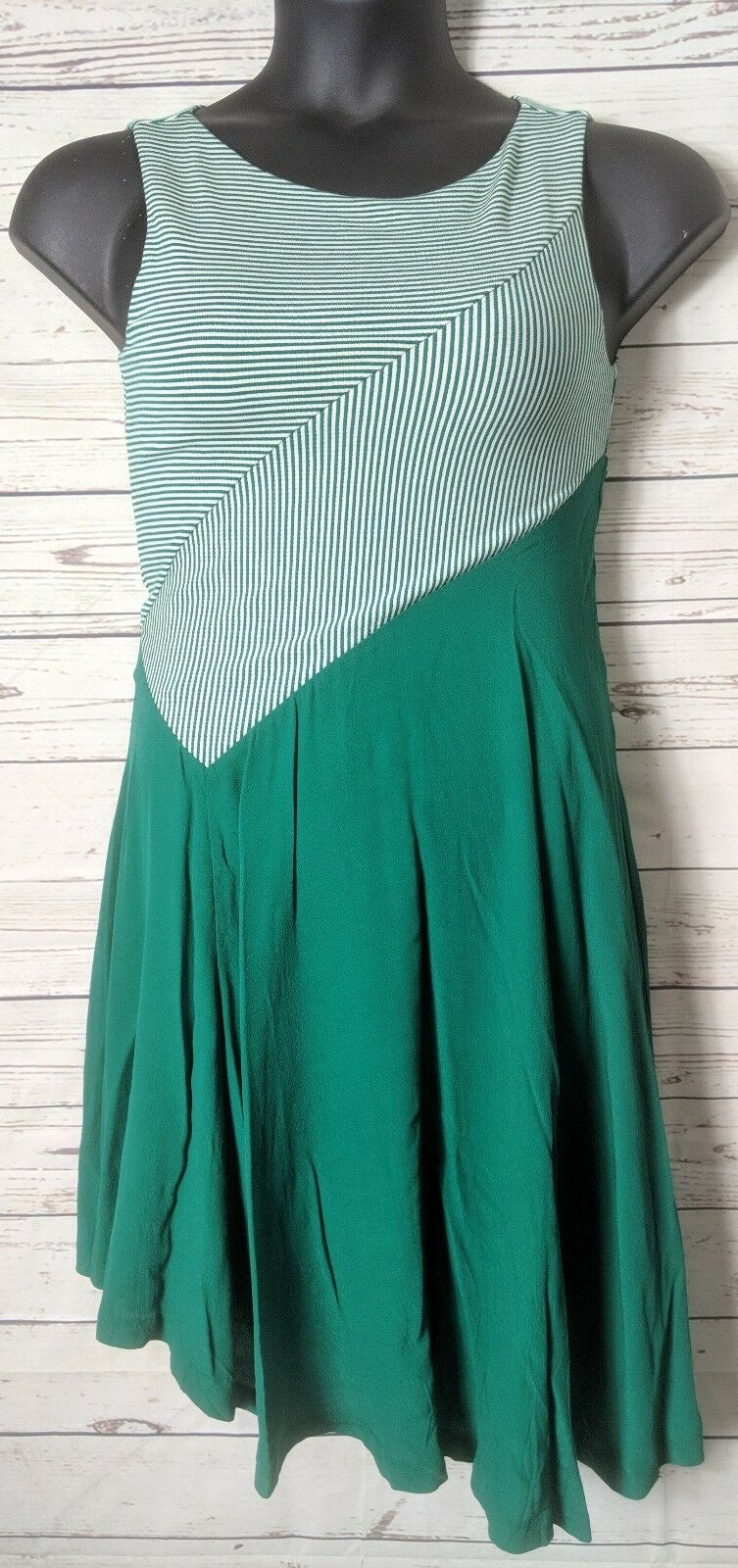 Maeve Anthropologie XS Extra Small Cameron Dress Grün Stripe Diagonal Waist