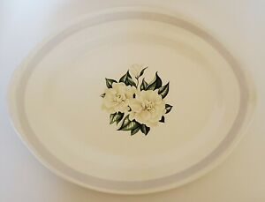 Homer Laughlin Nautilus Serving Platter White Flowers Green Leaves Gray Trim