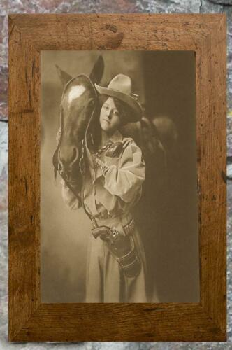 Charming.. Antique 8x10 Photo Print Cowgirl Posing with Horse Pistol ..