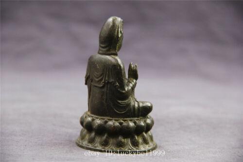 """3/"""" China old bronze handicraft Lotus guanyin Avalokiteshvara Buddha statue"""