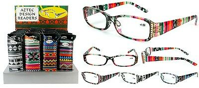 New Aztec Pattern Plastic Fashion Reading Glasses with Pouch + FREE GIFT!