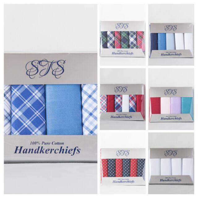 Mens Hankies Gents Large Hankerchiefs 3 Multi Pack PRESENTATION BOX 100/% COTTON