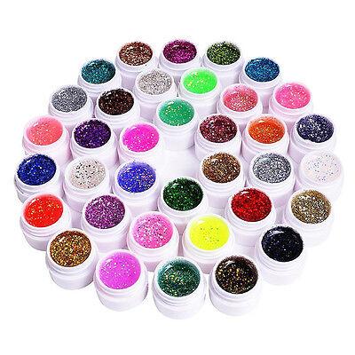 36 Farbe Nail Art Deko UV Glitter Glitzer Gel Nagel Politur Set Mode