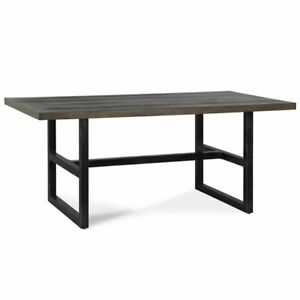 Dorel Living Sloan Trestle Dining Table In Rustic Gray And