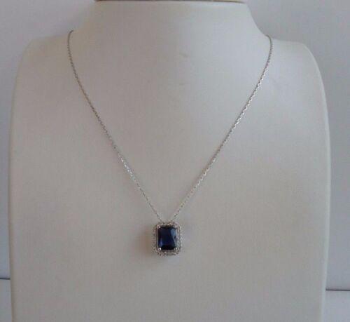 NECKLACE PENDANT 925 STERLING SILVER LADIES W// 5.25 CT LAB DIAMONDS /& TANZANITE