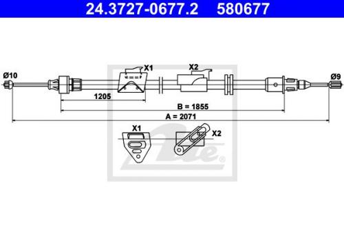 Original ATE Handbremsseil Feststellbremse Seilzug Hinterachse Opel Vectra B