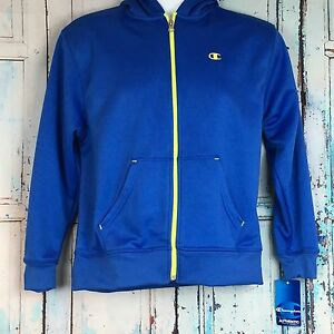 Champion Mens Hoodie Blue Full Zip Yellow Mesh Logo 2 Pocket Sweatshirt  Large L