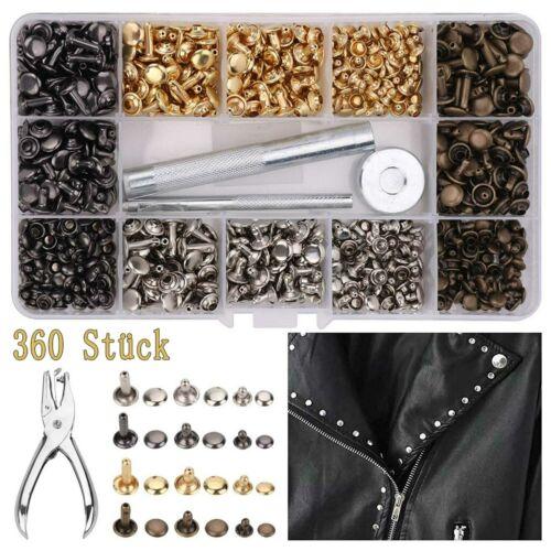 360 Set Leder Nieten Doppelkappe mit Nietenzange Lochzange Hohlnieten für Leder