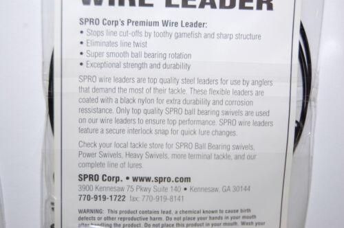 """Roulement à billes pivotant 2 Packs SPRO Premium Nylon Coated Wire Leader 24/"""" 30 lb environ 13.61 kg"""