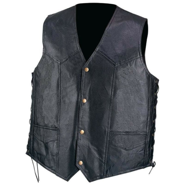 NWT Mens Genuine Black Leather Bike Tour Motorcycle Vest Lace M L XL 2X GIFT