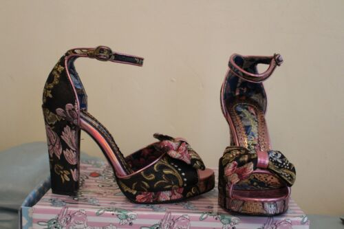 Block June Heels Sz Irregular Bnib Flaming Choice Rrp£90 6 Floral Pink Bow Black nApU06wpq