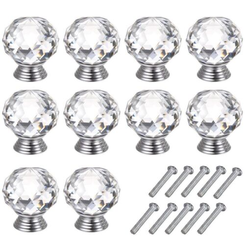 UK Chrome Ceramic Crystal Furniture Round Door Knobs Cabinet Drawer Pull Handle