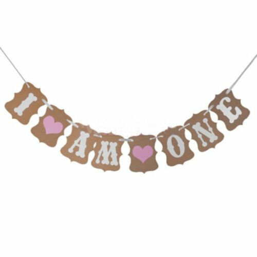 Vintage 1st Birthday Party Bunting Banner Baby/&Girl Pink Decoration I Am OnFHFS