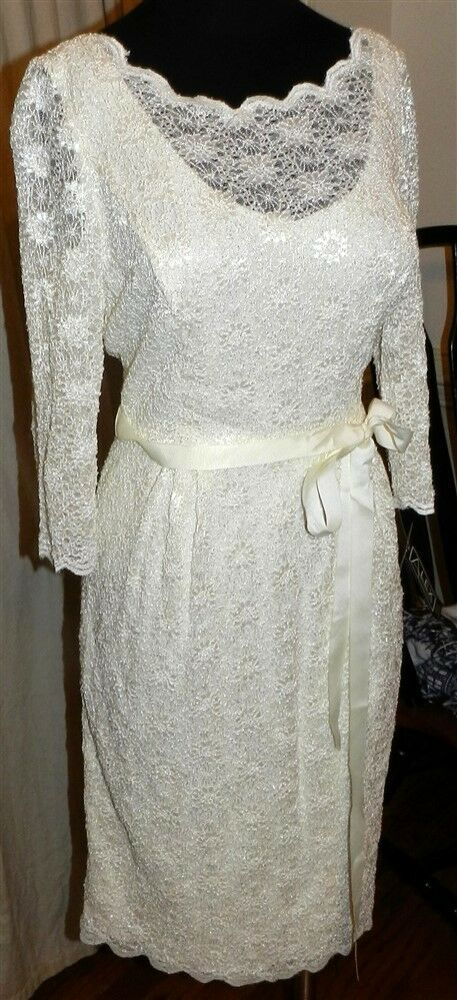 Dressy Dress Ivory Alex Evenings Sparkling Lace Misses size 6 New