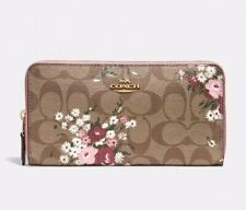 NWT Coach F73345 Accordion Zip Wallet in Signature Lily Flower Print $278