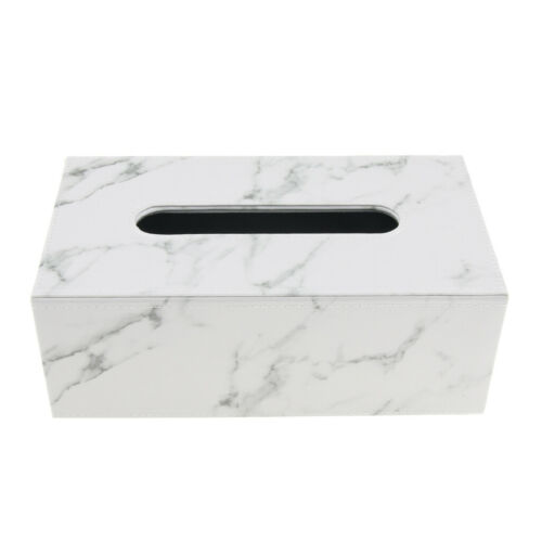 PU Leather Tissue Box Cover Holder Dashboard Napkin Container Marble Decor