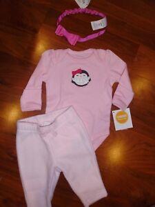 ba7862575829 0 3 M BABY GAP GYMBOREE 3PC Pink Penguin Fleece Pants Outfit New ...