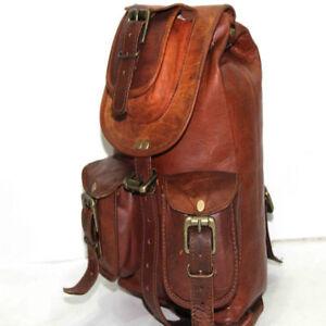 Men-S-L-Sizes-Vintage-Leather-Backpack-Rucksack-Travel-Sports-School-Hiking-Bag