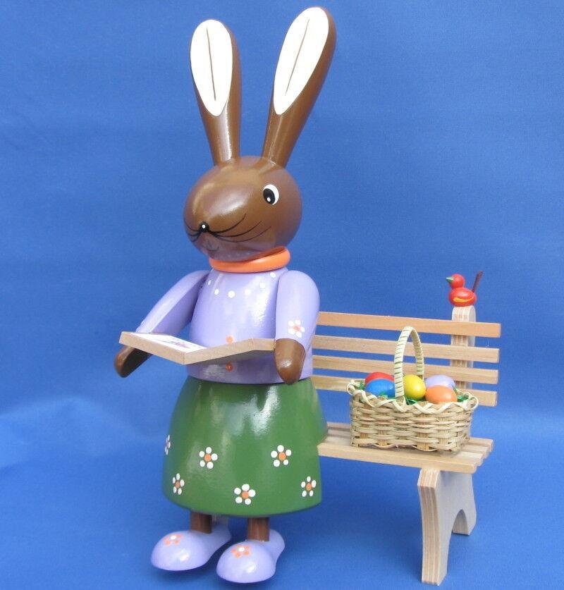 Grand lapin de Pâques Lapin sur banc de jardin Banque de 24 cm à la main de Banque la les Monts Métallifères caf3d1