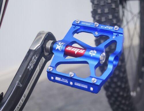 Aluminium Road MTB Mountain XC AM Bike 3 Bearings Pedals Flat Pedal Blue 1 pair