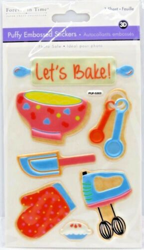 Let/'s Bake Mixer Pie Bowl Kitchen Measuring Spoons Embossed 3D Epoxy Stickers