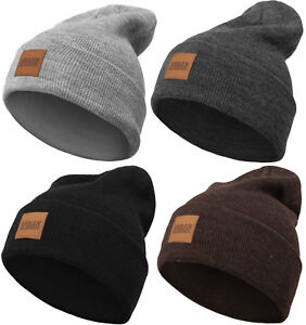 Urban Classics Leather Patch Long Beanie Winter Hat Cap Woolly Hat ... 911ccaf5741