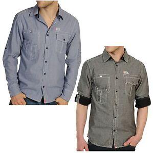 Soul Star New Men/'s Slim Fit Western Check Long Sleeve Shirt S M L XL XXL