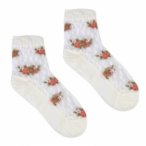 Trendy Women Girls Ultrathin Socks Transparent Crystal Rose Elastic Short Socks