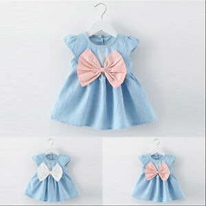 US-Child-Kid-Baby-Girls-Summer-Tutu-Dress-Princess-Party-Wedding-Bowknot-Dresses