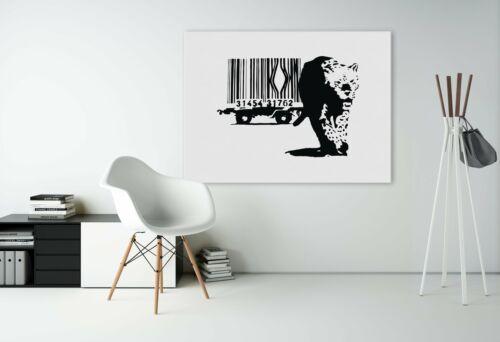 Banksy Leopard Barcode Art Canvas Wall Framed Graffiti Painting Print Bansky Tig