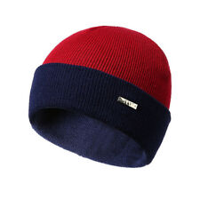 Double-sided Contrast Color Mix Knitted Hat Winter Men Women Fashion Warmth S