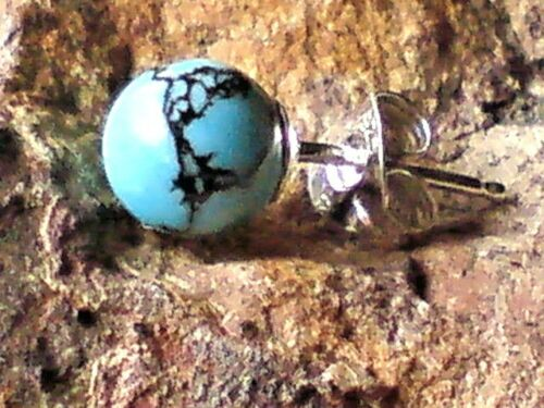 SINGLE STERLING SILVER  /& TURQUOISE 5mm BALL SHAPED STUD EARRING £4.50 NWT