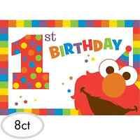 Sesame Street Elmo 1st Birthday Invitations 8ct Party Decoration Favor Supplies