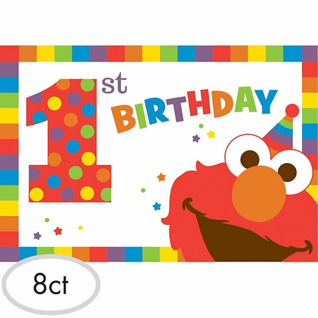 Sesame Street Elmo 1st Birthday Invitations 8ct Party Decoration Favor Supplies