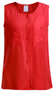 Damen-Tops-100-Seide-Silk-Satin-Tops-Shirt-Weste-ohne-Arm-aermellos-Rot-140124A