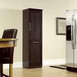 Pantry Storage Cabinet Tall Kitchen Trash Can Bin Shelf Wood ...