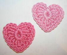 2 schöne Häkelherzen Rosa-Pink Applikation Aufnäher gehäkelt, Häkelblumen Herzen