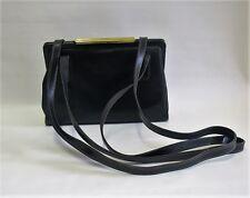 Vintage Goldpfeil Black Leather Shoulder Gold Clasp Bag Hand Made In Germany
