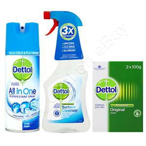 DETTOL-ANTIBACTERIAL-BUNDLE-Disinfectant-SPRAY-SURFACE-Cleanser-2-x-SOAP